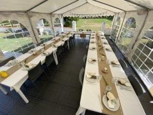 Grande terrasse couverte de la résidence - possibilité d'ouvrir - Accueil groupe mariage séminaire